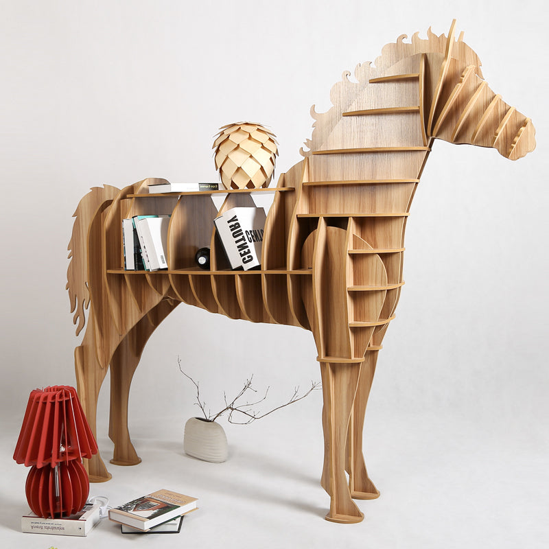 Modern Creative Table Basse Wooden Big Horse Wood Craft For Art Home Office Theme Restaurant Living Room Study Decoration TM013M