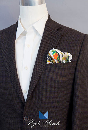"""PEACOCKING"" DIGITAL PRINT POCKET SQUARE"