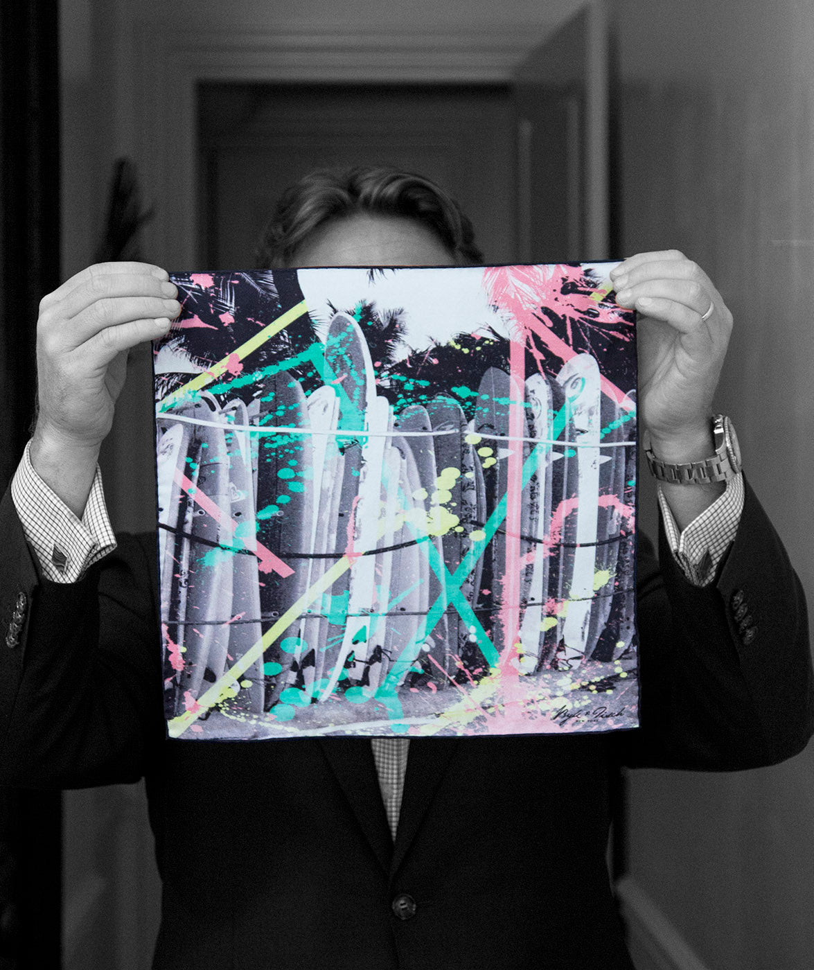 """GRAFFITI BOARDS"" DIGITAL PRINT POCKET SQUARE"