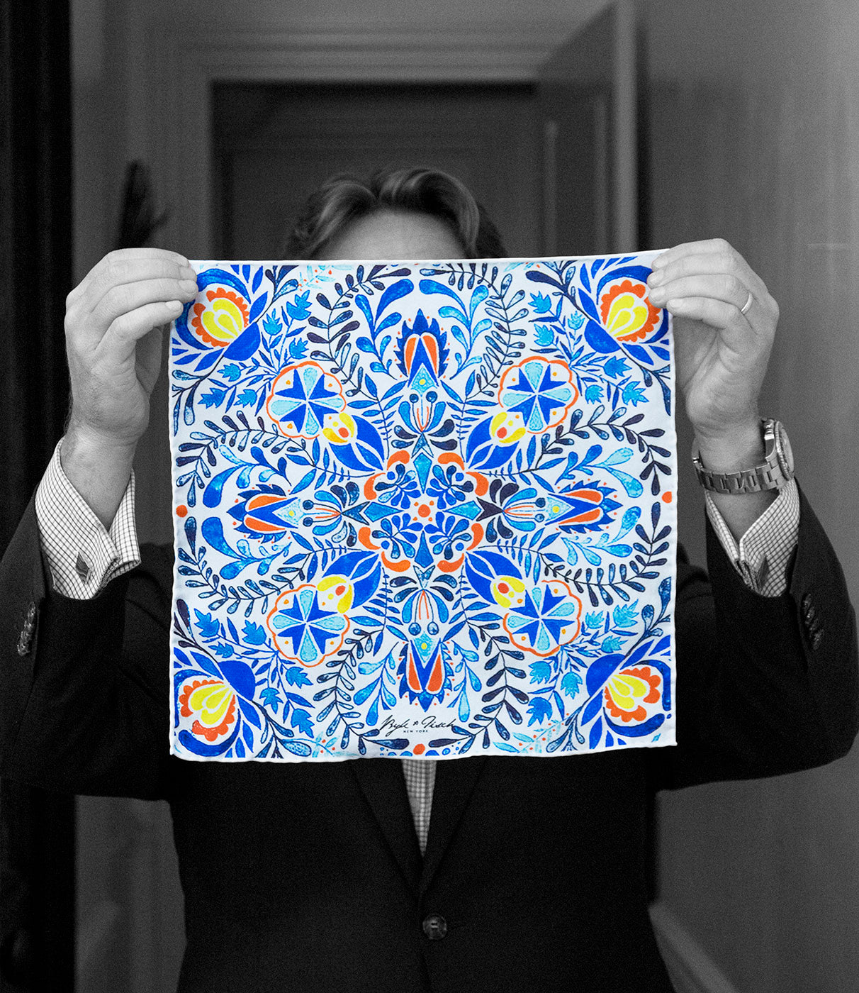 """MYKONOS DREAM"" DIGITAL PRINT POCKET SQUARE"