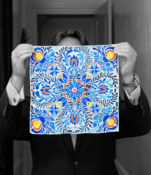 """BLUE TILE"" DIGITAL PRINT POCKET SQUARE"