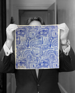 """KLEIN BLUE WAVES"" DIGITAL PRINT POCKET SQUARE"