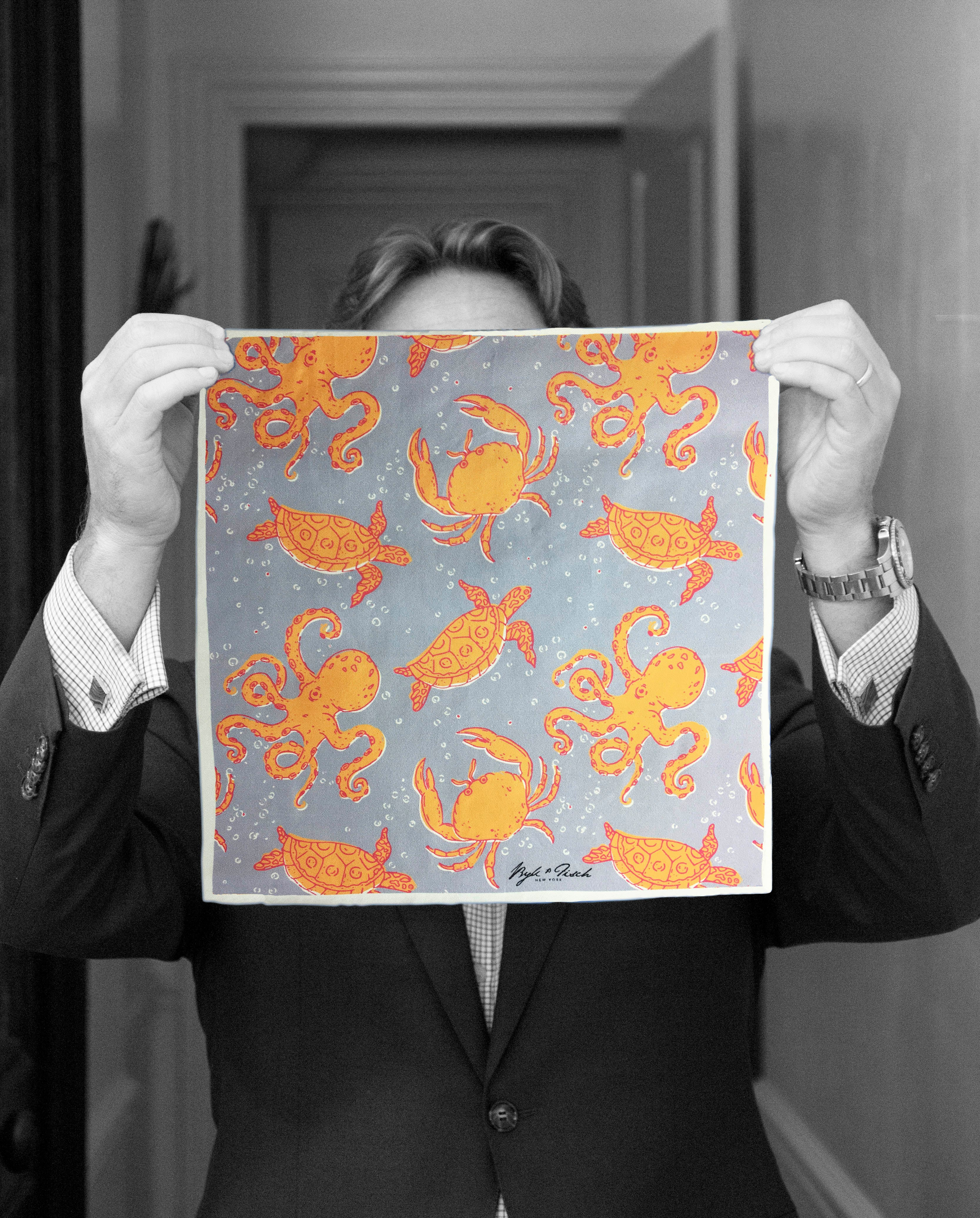 Octopus Garden Digital Print Pocket Square Byk And Fisch