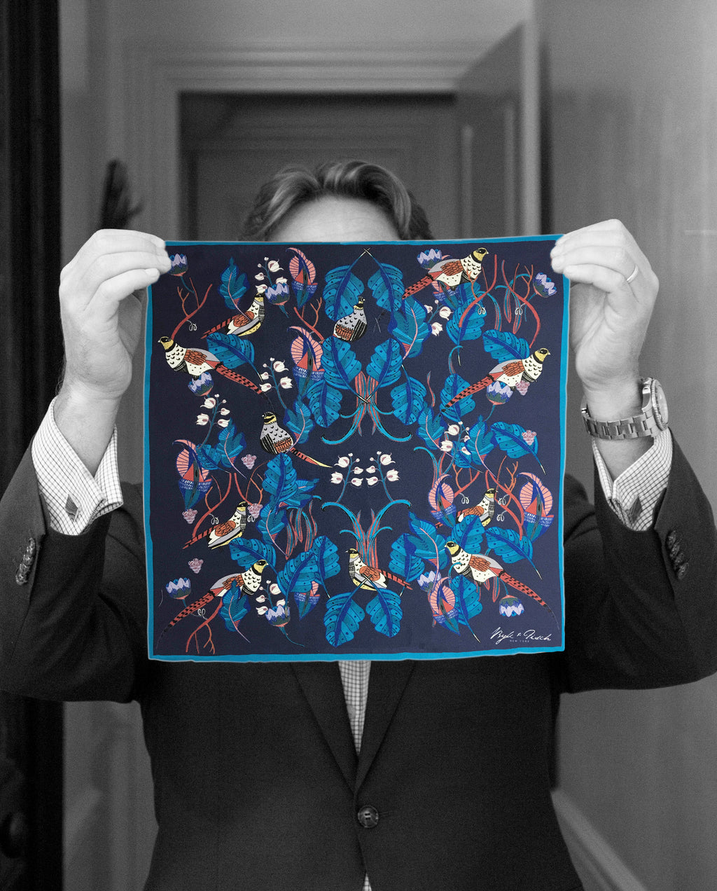 """ENGLISH PHEASANTS"" DIGITAL PRINT POCKET SQUARE"