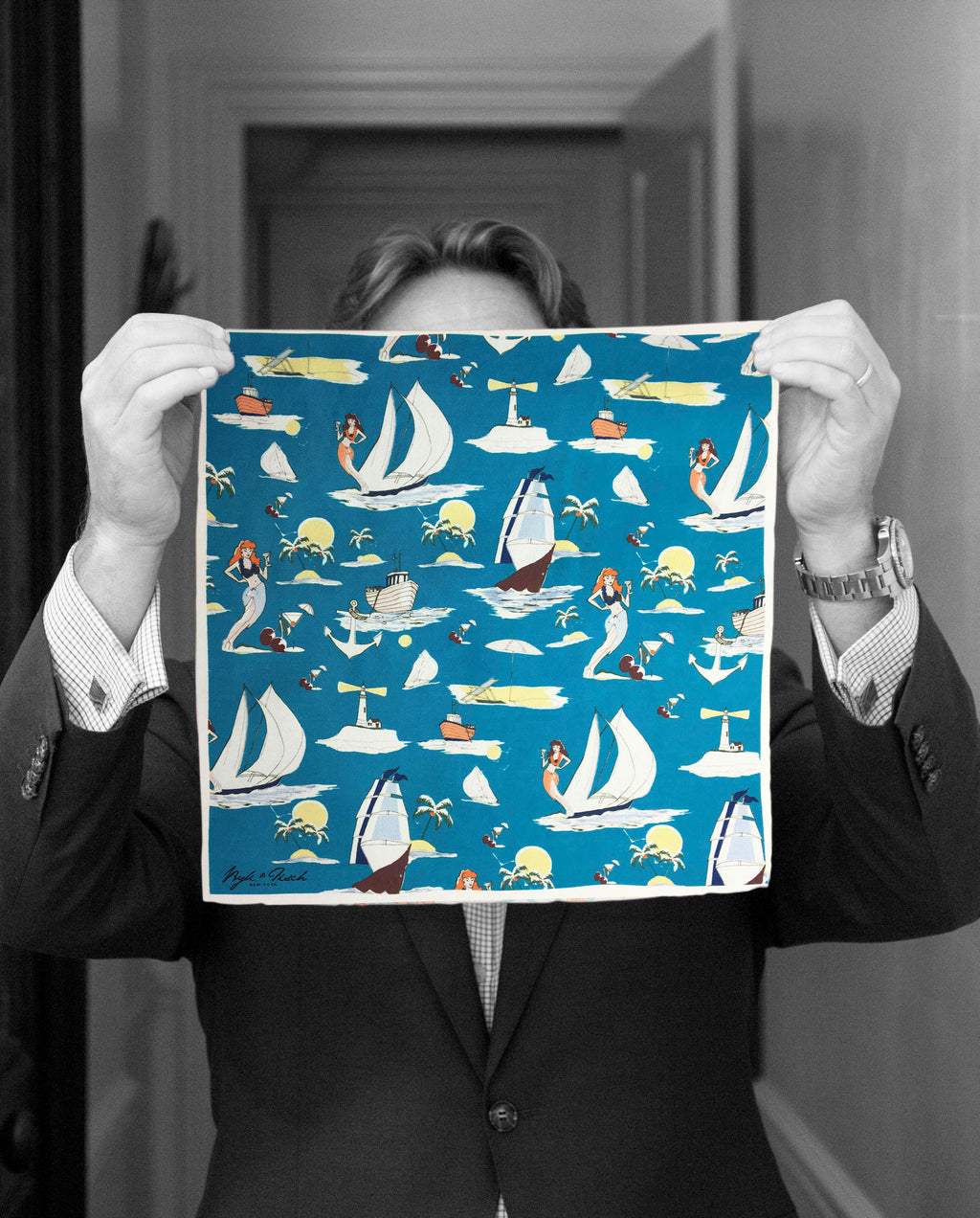 """SAIL AWAY"" DIGITAL PRINT POCKET SQUARE"