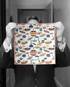 """SPINNING TOPS"" DIGITAL PRINT POCKET SQUARE"