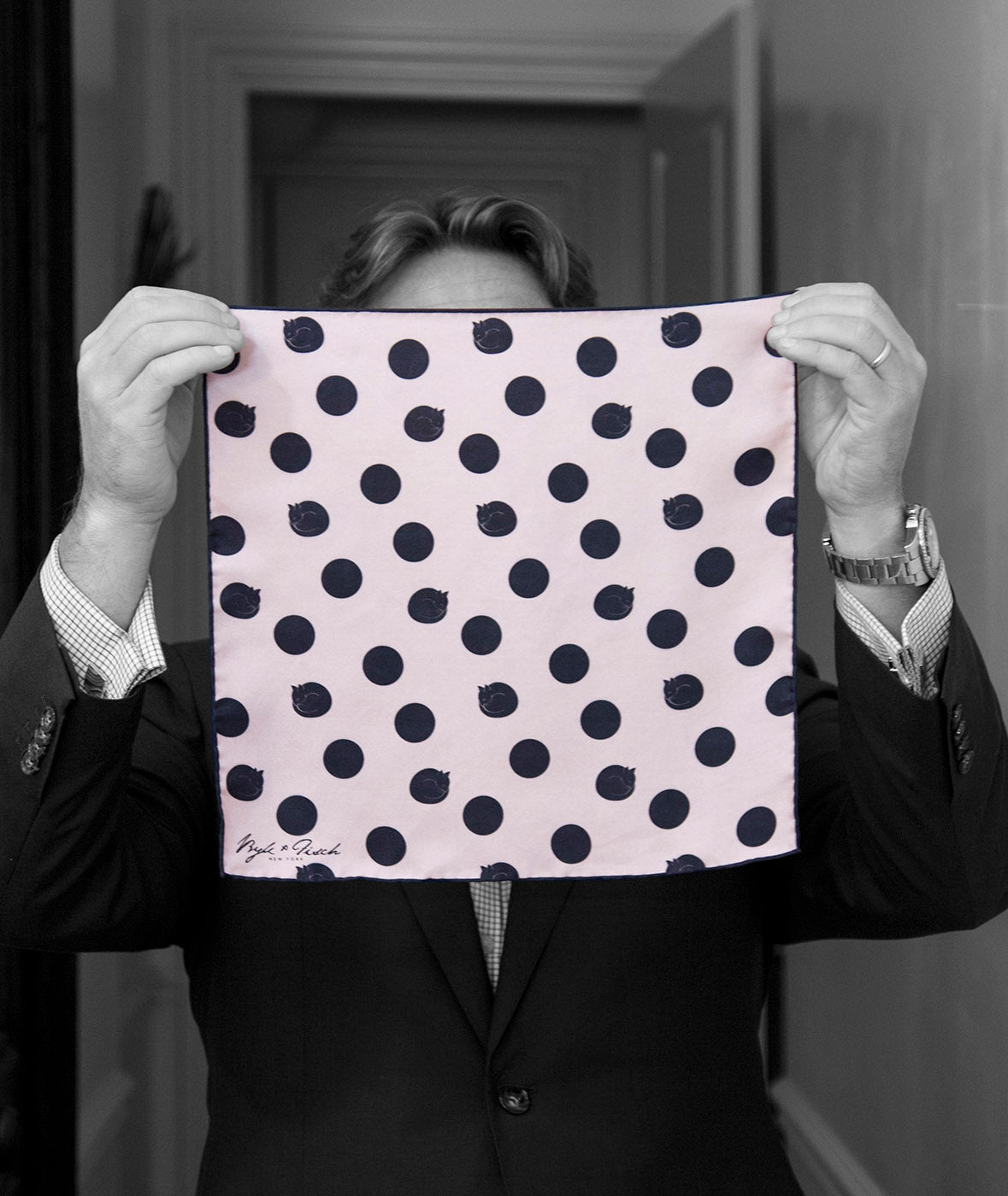 """CAT POLKADOTS"" DIGITAL PRINT POCKET SQUARE"