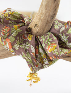 FLORAL PRINT SILK SCRUNCHIE WITH CHARM