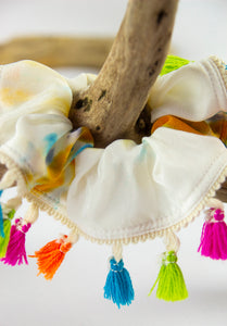 TIEDYE PRINT SILK SCRUNCHIE WITH TASSELS