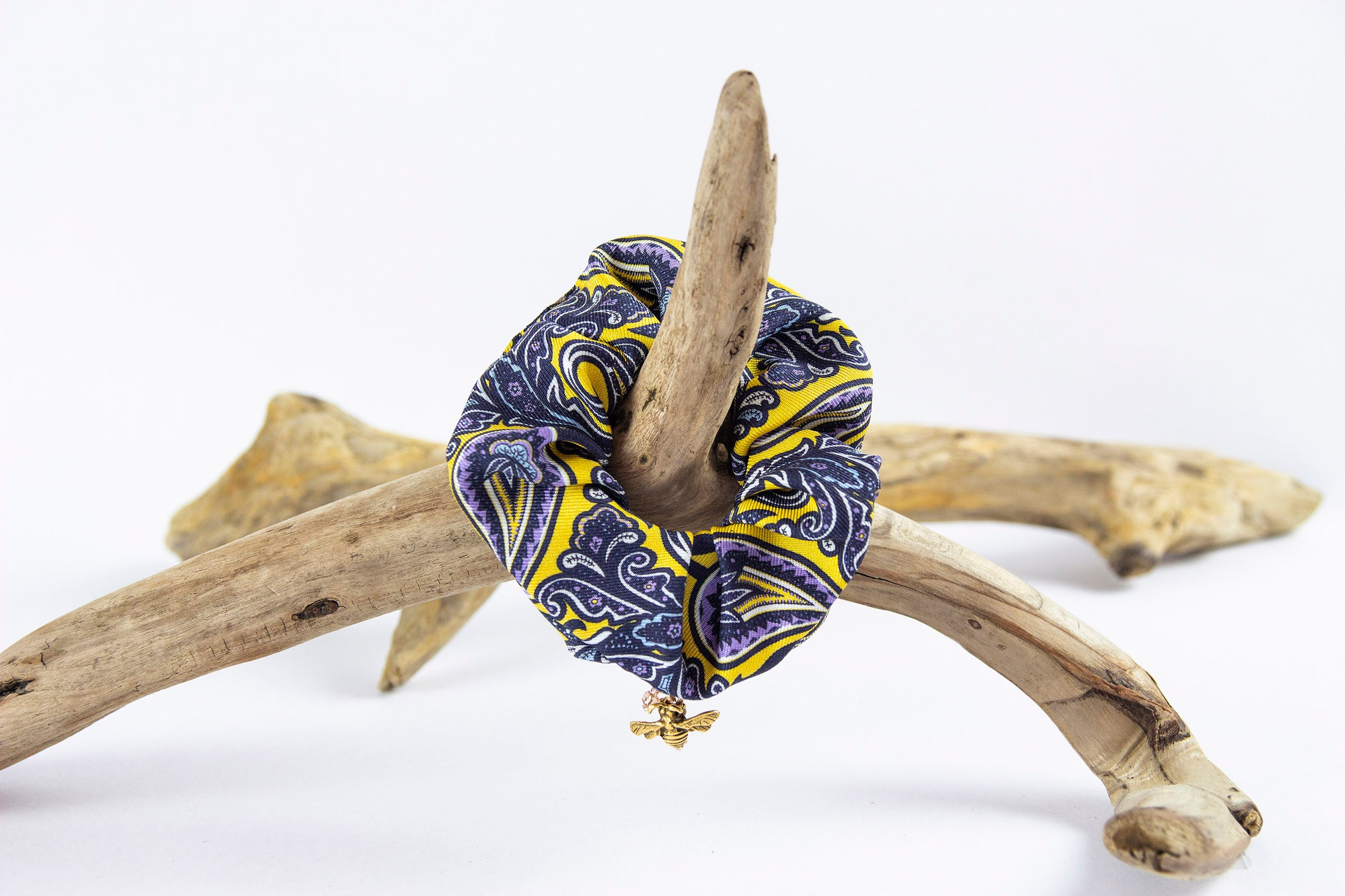 PAISLEY PRINT SILK SCRUNCHIE WITH CHARM
