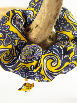 PAISLEY PRINT SILK SCRUNCHIE WITH CERAMIC FISH CHARM