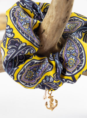 PAISLEY PRINT SILK SCRUNCHIE WITH CHARM ANCHOR GOLD