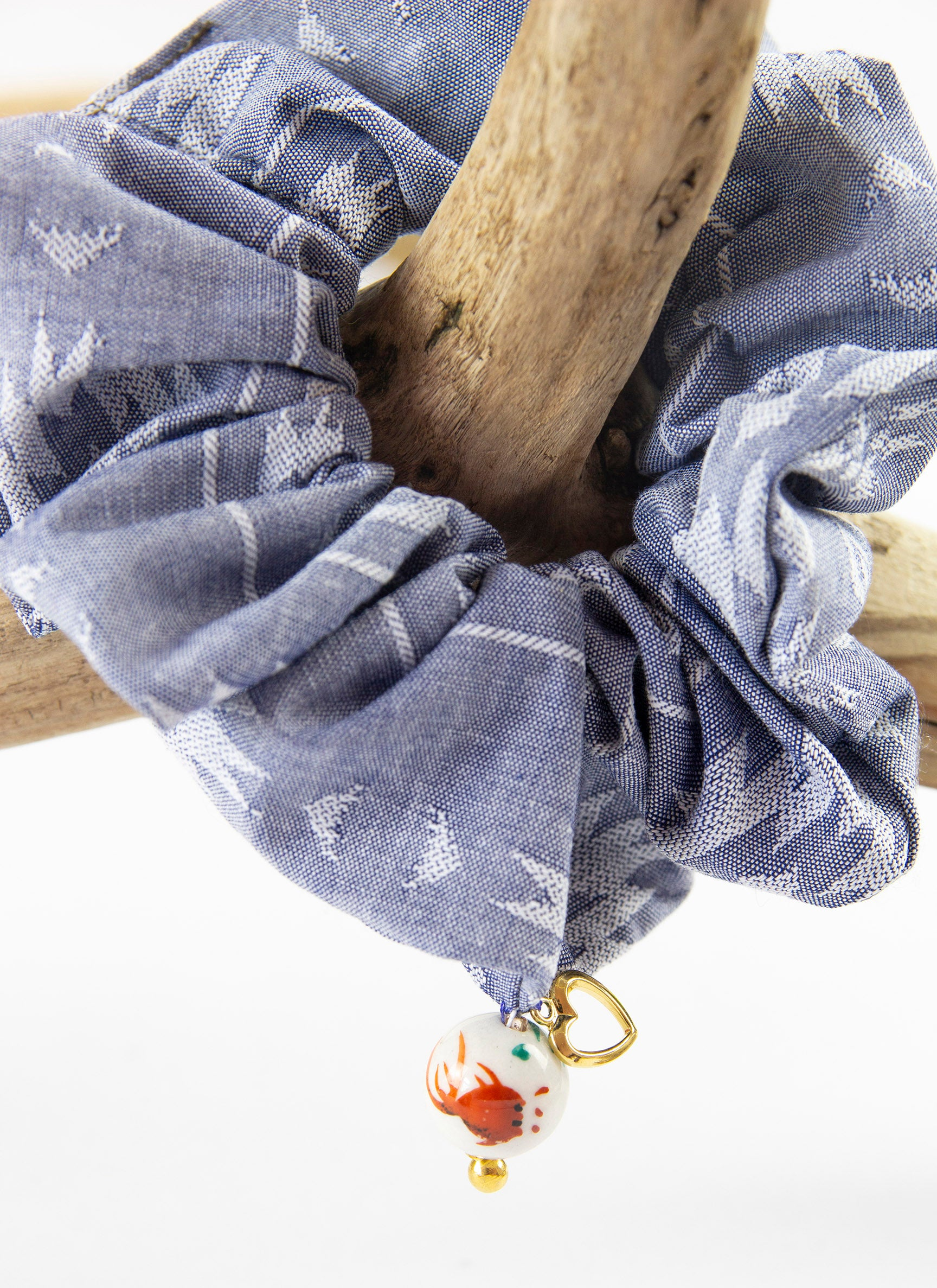 TORO Y PESCADO SANTA FE DENIM SCRUNCHIE WITH CERAMIC BEAD CHARM