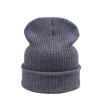 grey turn up beanie hat for winter