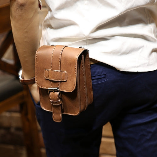 Retro Crazy Horse PU Leather Mens Waist Bag - Aces23