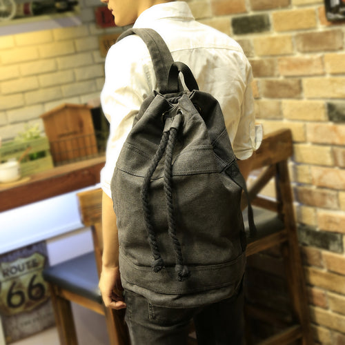 Men's Backpack Drawstring Canvas Bucket Bag 2 Colours - Aces23