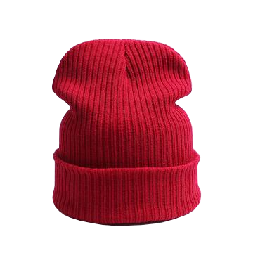 red unisex beanie hat with ribbed design