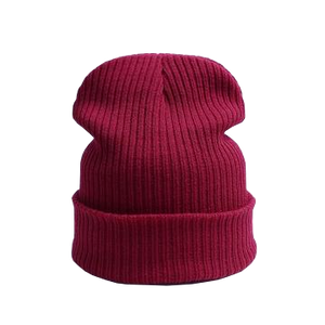 wine color beanie hat for leisurewear