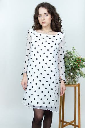 1960's Polka Dot Chiffon Dress