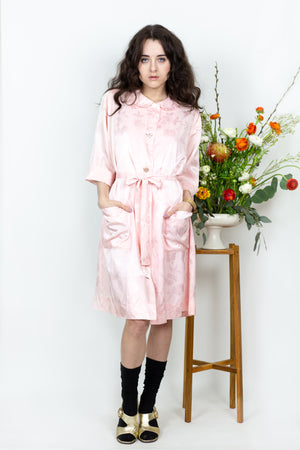 Satin Floral Robe Dress