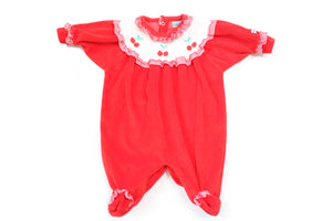 Baby Velour Cherry Onesie
