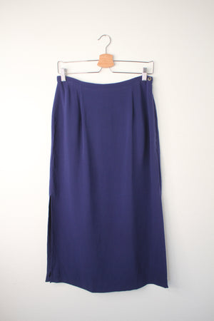Minimal Blue Silk Skirt