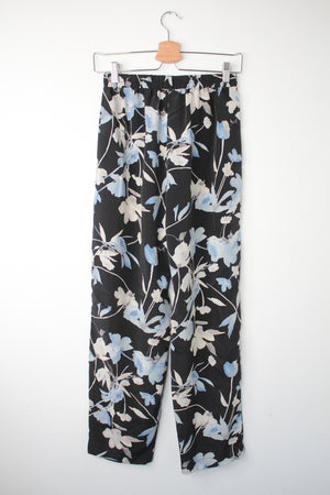 90's Navy Floral Flowy Pants