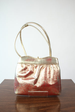 Golden Leather Bag w/ Red Undertones