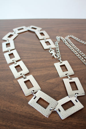 Hammered Silver Chain Belt