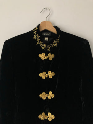 Black Crushed Velvet Jacket w/ Gold Frog Closures - M/L