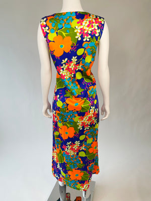 Amazing Bright Acid Flower Power Maxi Dress
