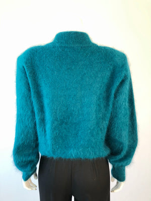 80's Teal Angora Pullover Sweater