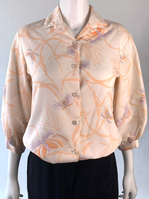 Peach Butterfly Print Blouse