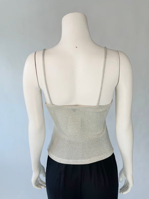 Y2K Slinky Silver Knit Top