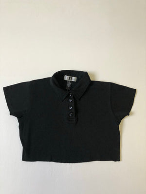 90's Black Cotton Cropped Top - S