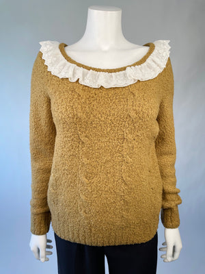Teddy Sweater w/ Lace Trim