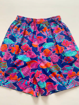 1980's Tropical Fish-Print Drawstring Shorts