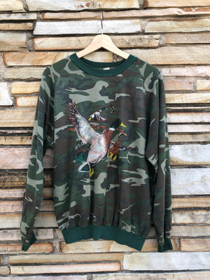80's Flying Mallards Cozy Camo Sweatshirt - L