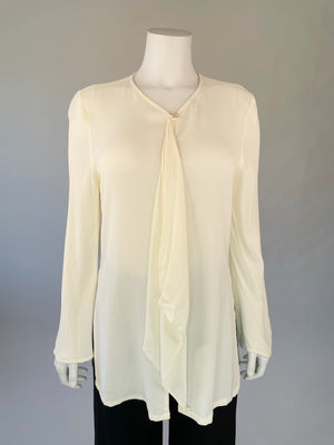1990's Bell Sleeve Ivory Flutter Tunic Top