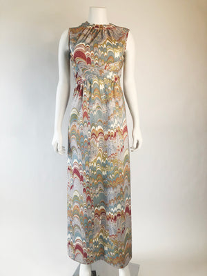 Psychedelic Print Leslie Fay Poly Maxi Dress