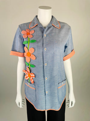 1960's Chambray Shirt w/ Gingham Flowers