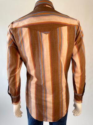 Brown Striped 1970's Ely Cattleman Pearl Snap