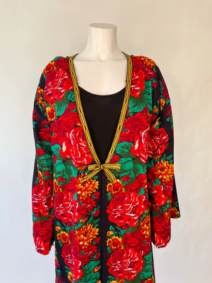Rose Print Afghani Duster Robe
