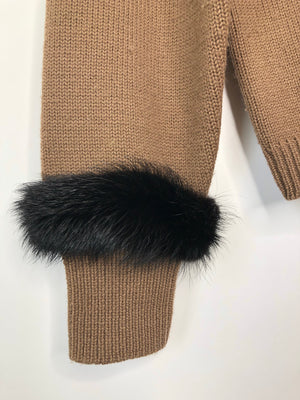 Brown Cardigan w/ Fur Poms - S