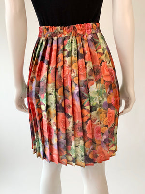 1980's Floral Pleated Skirt