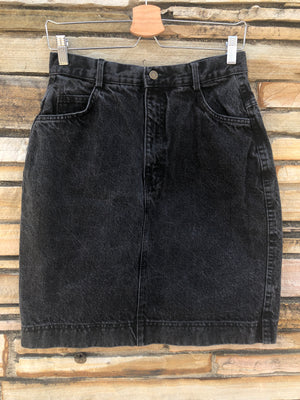 90's High Waisted Black Denim Skirt - L