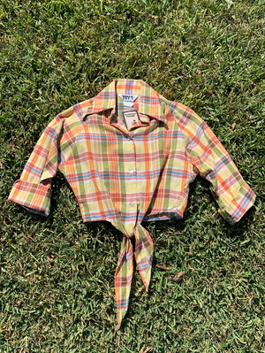 Super Cute 70's Yellow Plaid Tie Top - S