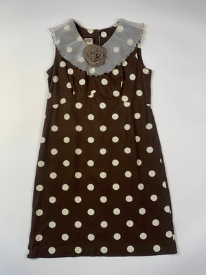 Mid-Century Ruffle Collar Polka Dot Dress - XL