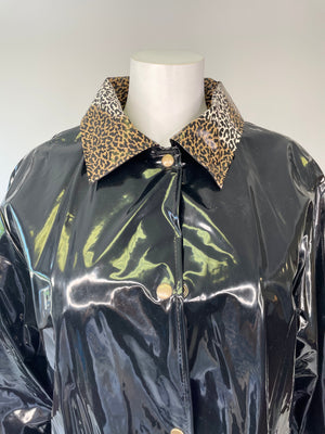 Black Classic Raincoat w/ Leopard Print Detail