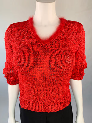 Super Hot V-Neck Red Ribbon Sweater w/ Maribou Trim